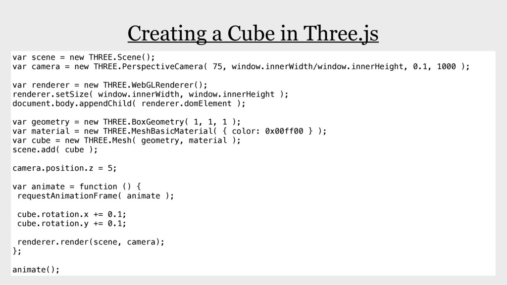 Creating a Cube in Three.js var scene = new THR...