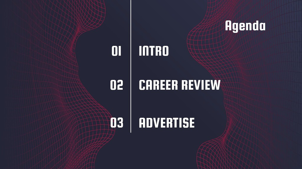 Agenda ADVERTISE 01 02 03 CAREER REVIEW INTRO