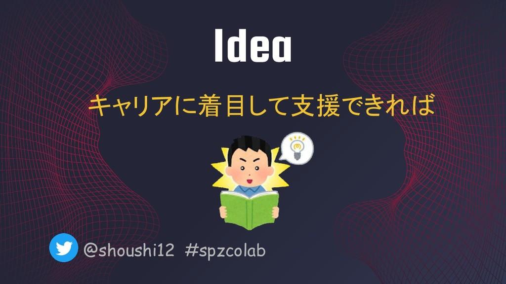 Idea @shoushi12 #spzcolab キャリアに着目して支援できれば