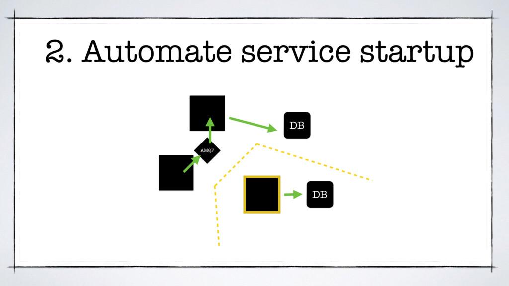 DB DB AMQP 2. Automate service startup