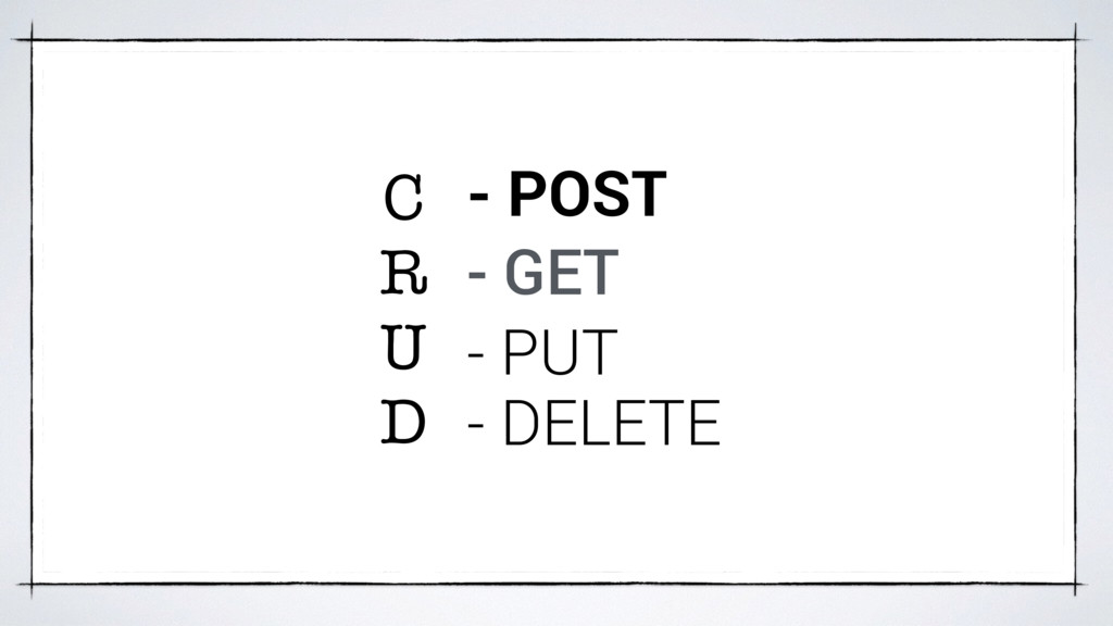 C R U D - POST - GET - PUT - DELETE