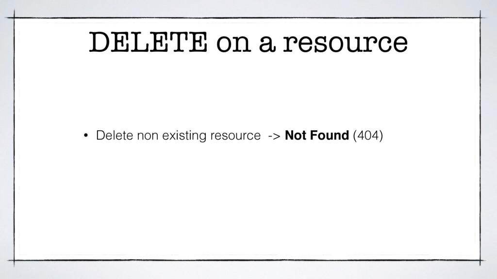 DELETE on a resource • Delete non existing reso...
