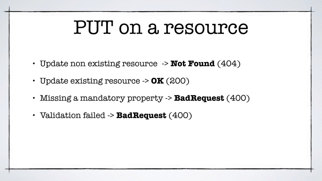 PUT on a resource • Update non existing resourc...