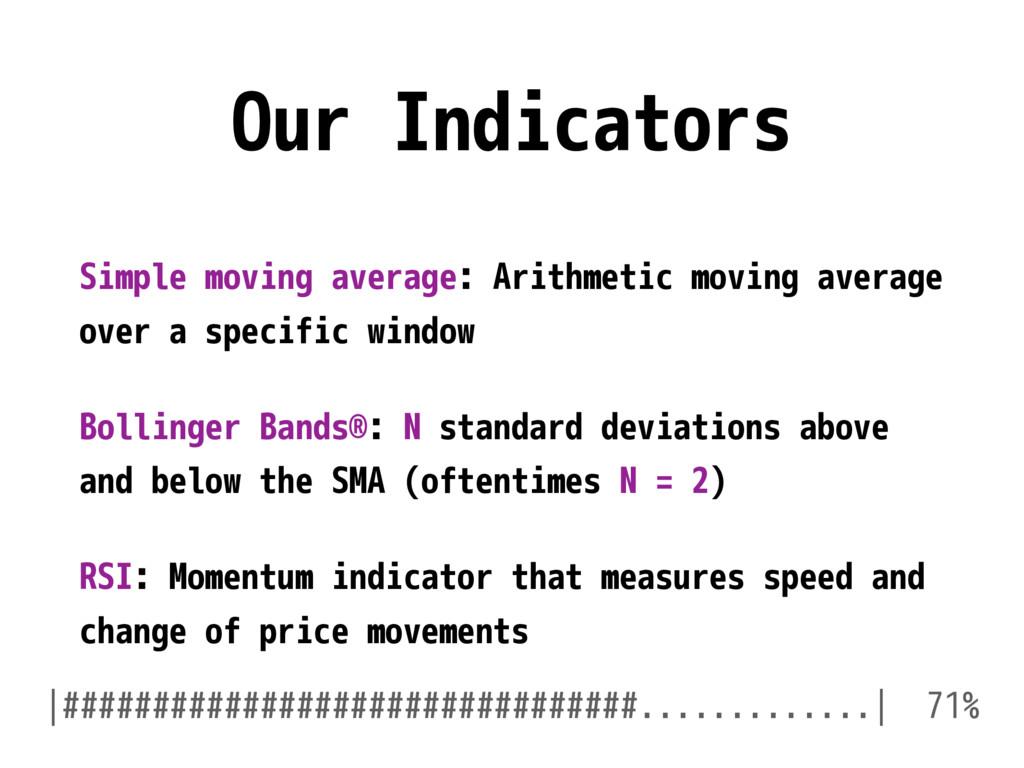 Our Indicators Simple moving average: Arithmeti...