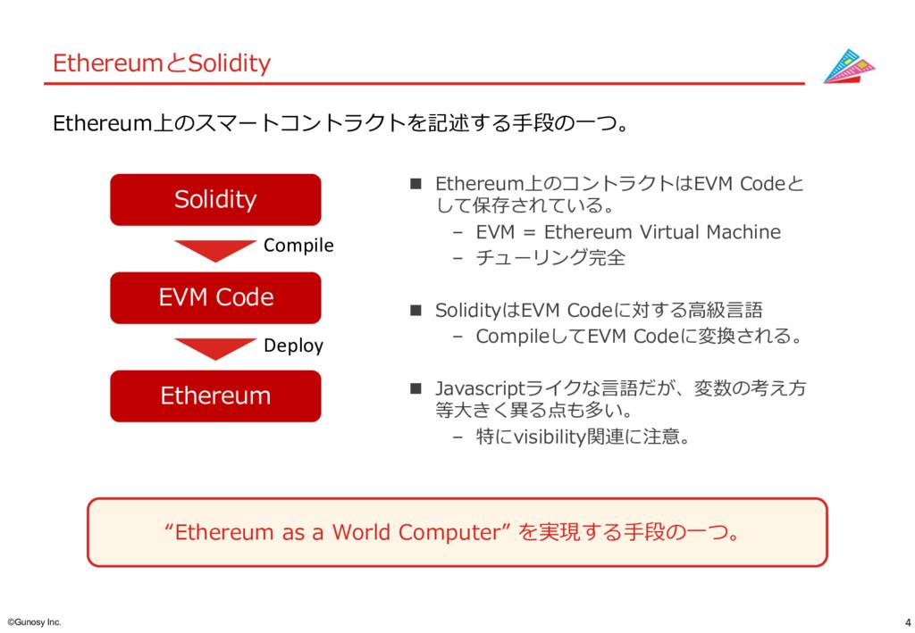 "4 ©Gunosy Inc. EthereumとSolidity ""Ethereum as a..."