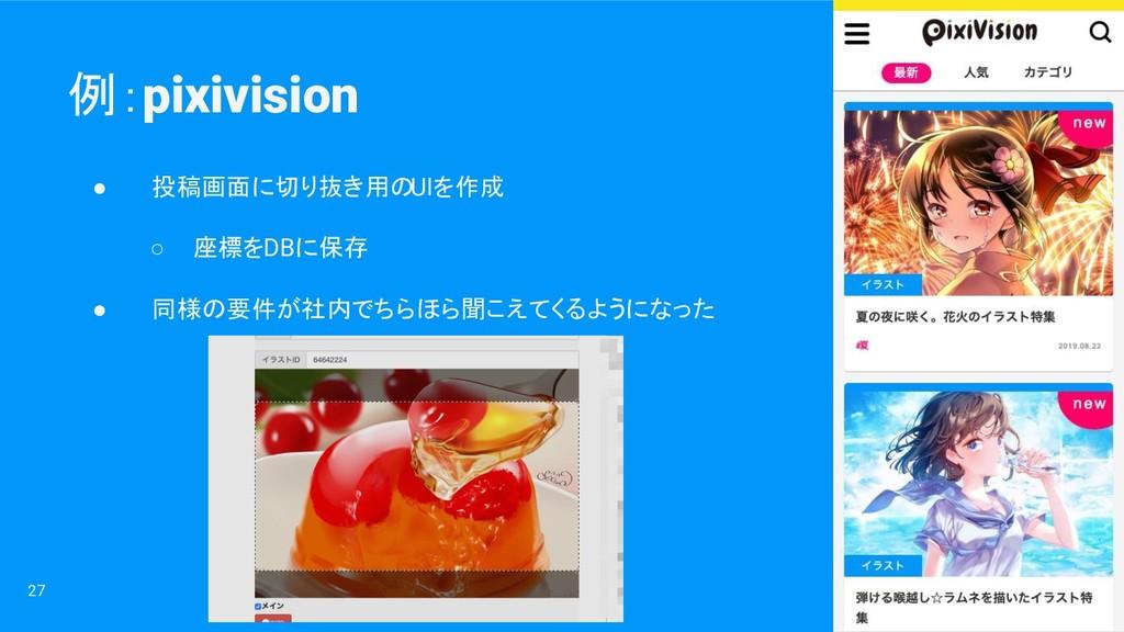 例:pixivision 27 ● 投稿画面に切り抜き用のUIを作成 ○ 座標をDBに保存 ●...