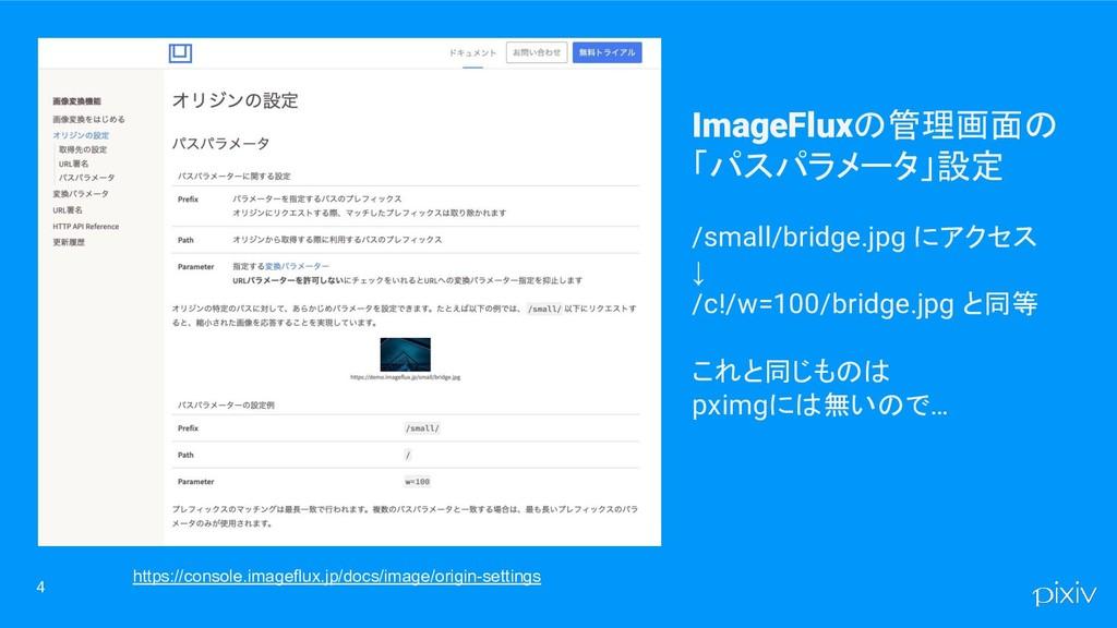 4 ImageFluxの管理画面の 「パスパラメータ」設定 /small/bridge.jpg...