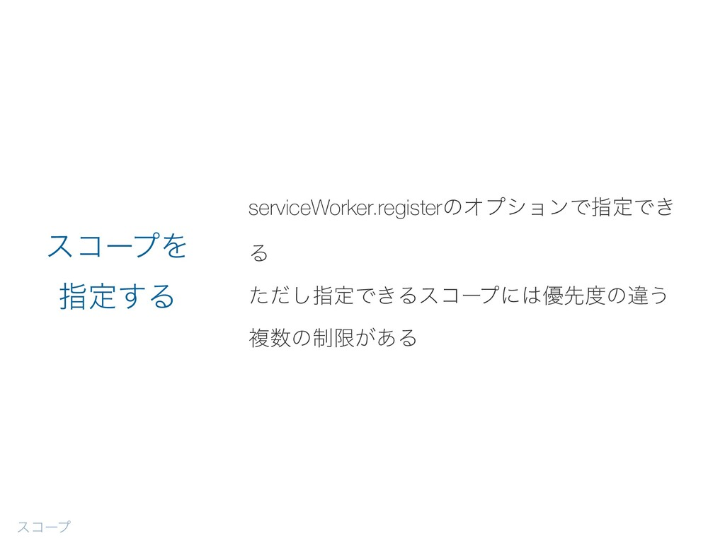 serviceWorker.registerͷΦϓγϣϯͰࢦఆͰ͖ Δ ͨͩ͠ࢦఆͰ͖Δείʔ...
