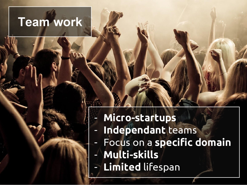 - Micro-startups - Independant teams - Focus on...