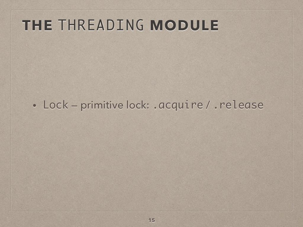 15 • Lock — primitive lock: .acquire / .release...