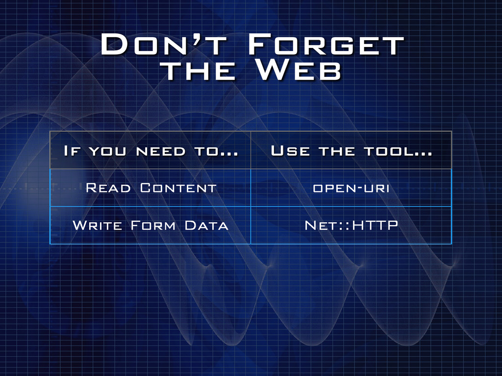 Don't Forget the Web If you need to… Use the t...