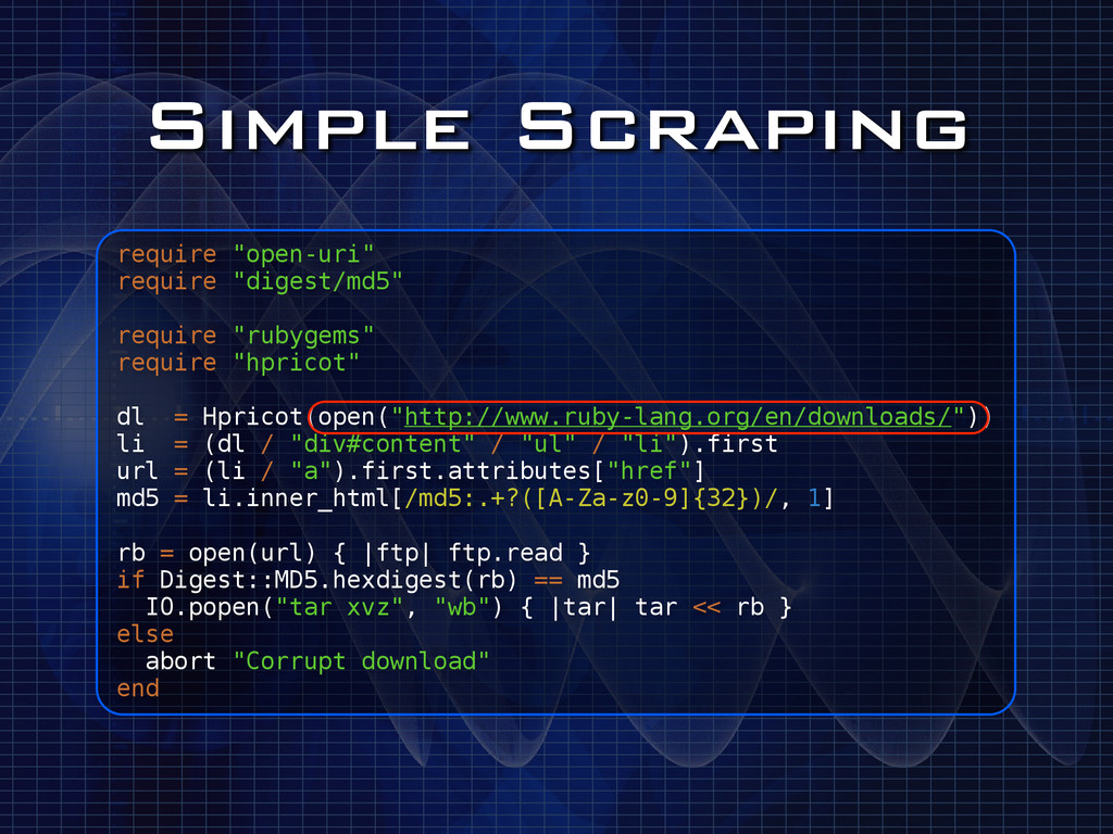 "Simple Scraping require ""open-uri"" require ""dig..."