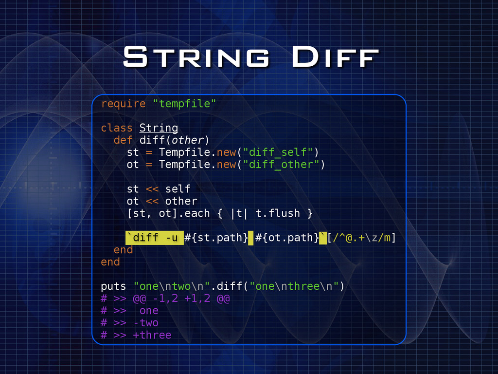 "String Diff require ""tempfile"" ! class String d..."