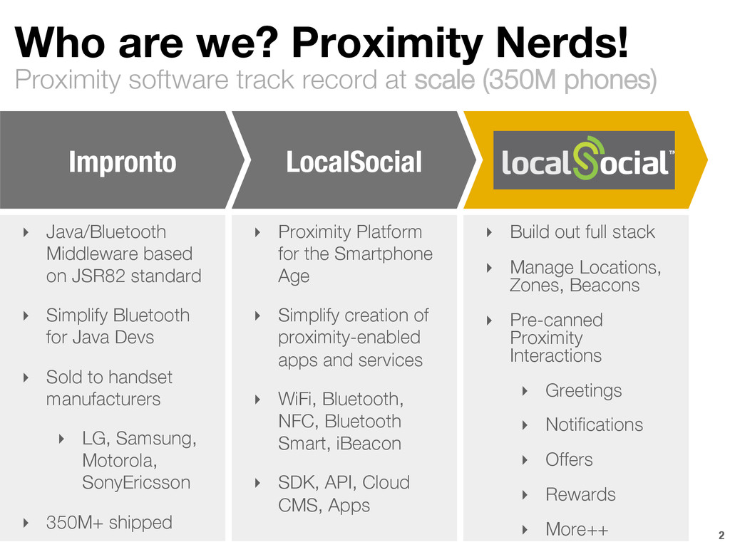 Proximity software track record at scale (350M ...