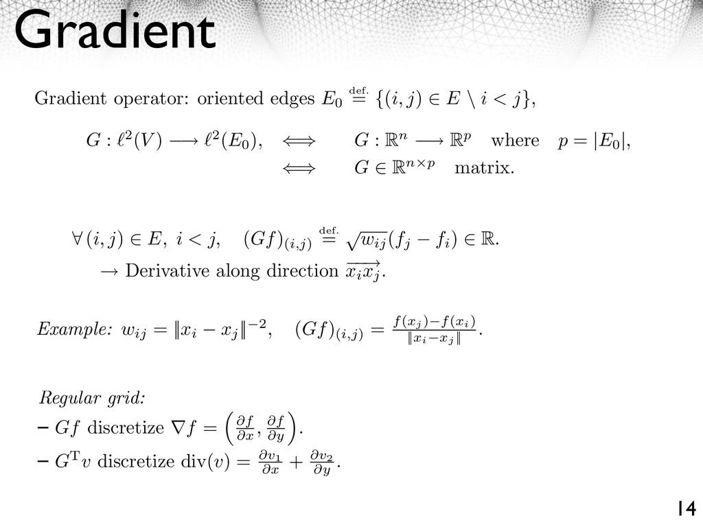 Gradient 14 ⇤ (i, j) ⇥ E, i < j, (Gf) (i,j) def...