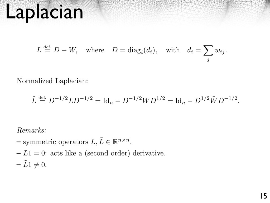Laplacian 15 L def. = D W, where D = diag i (di...