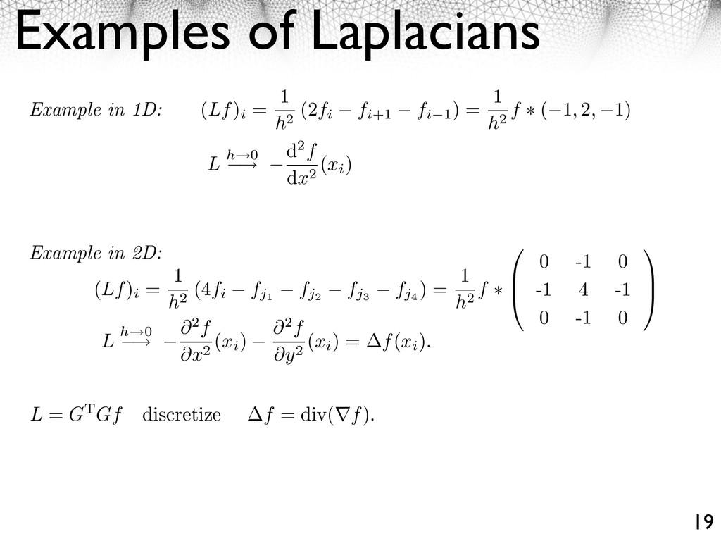 Examples of Laplacians 19 (Lf) i = 1 h2 (4fi fj...