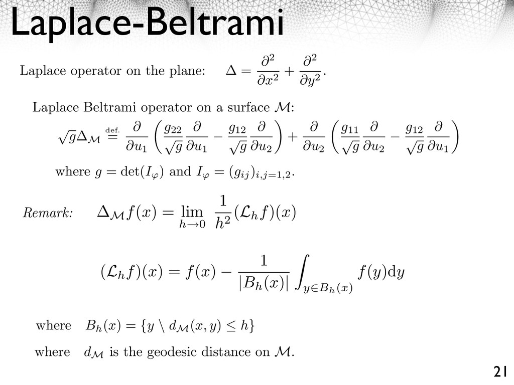 Laplace-Beltrami 21 Laplace operator on the pla...