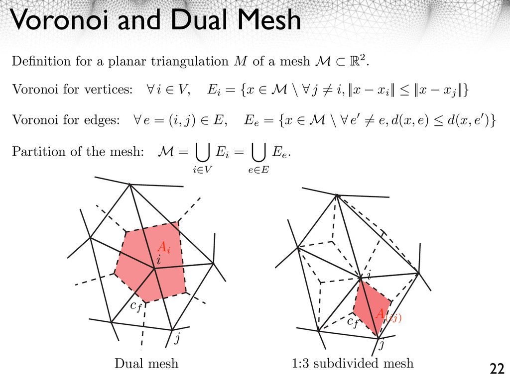 Voronoi and Dual Mesh 22 Definition for a planar...