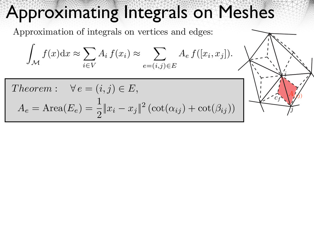 Approximating Integrals on Meshes Approximation...