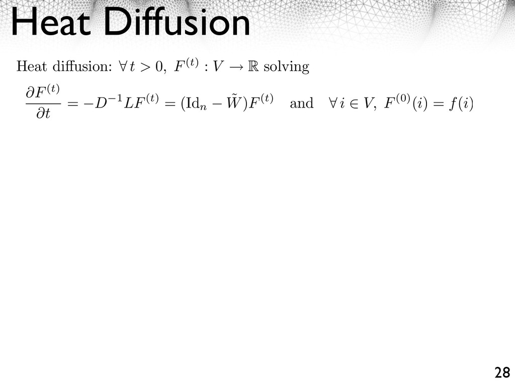 Heat Diffusion 28 Heat di usion: ⇥ t > 0, F(t) ...