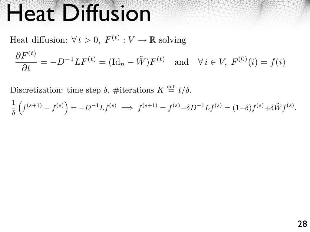 Heat Diffusion 28 Discretization: time step , #...