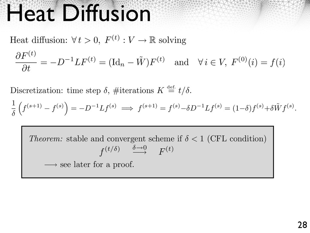 Heat Diffusion 28 ⇥ see later for a proof. Disc...