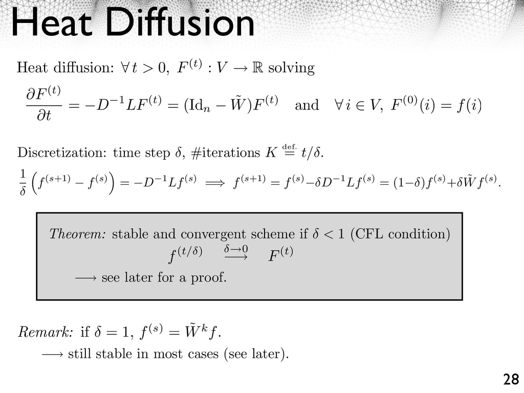 Heat Diffusion 28 ⇥ see later for a proof. ⇥ st...
