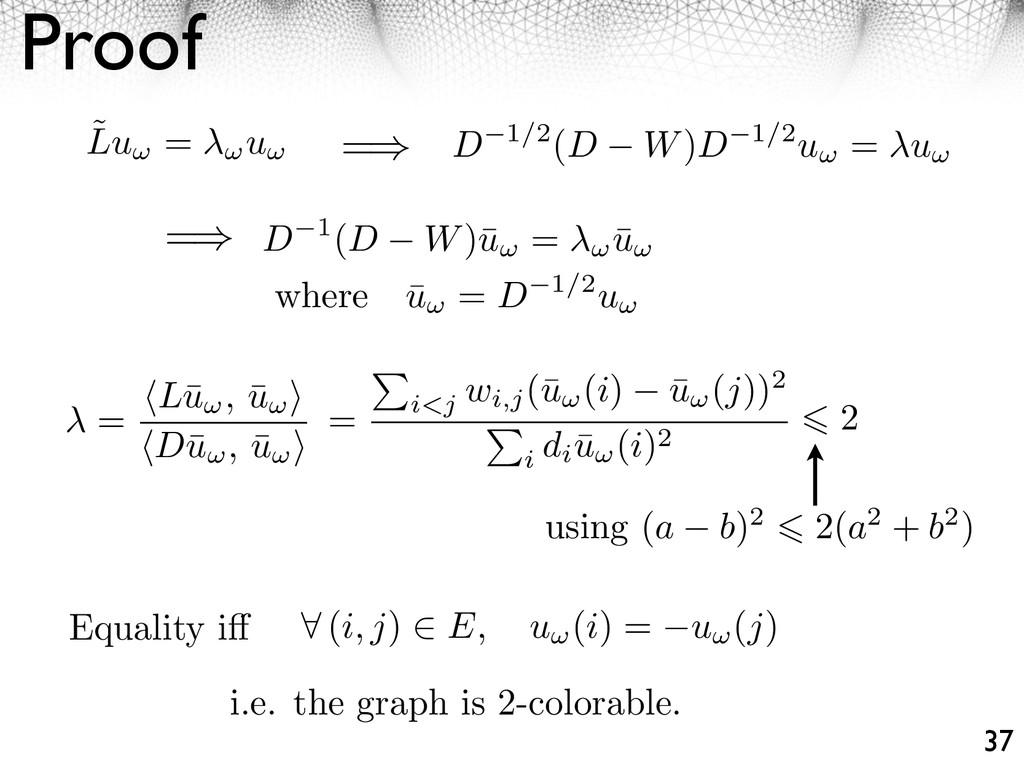Proof 37 ˜ Lu = u = D 1(D W)¯ u = ¯ u D 1/2(D W...