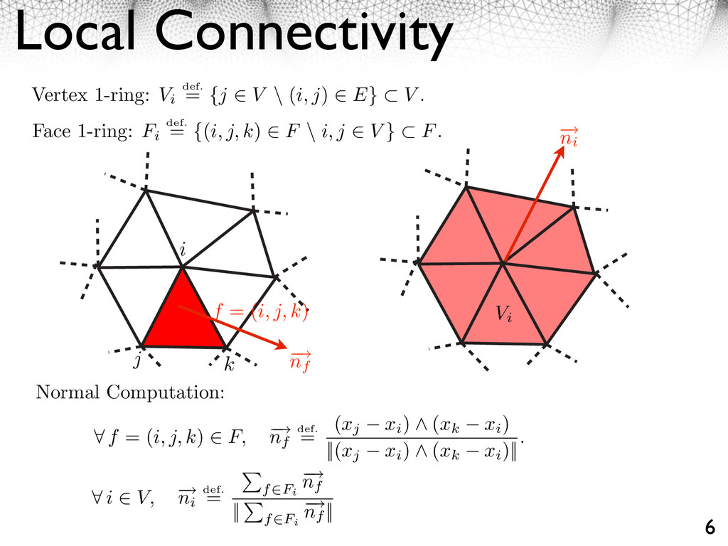 Local Connectivity 6 Vertex 1-ring: Vi def. = {...