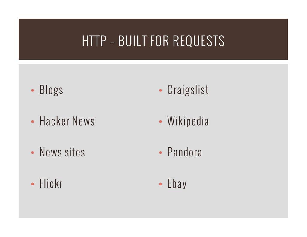 • Blogs • Hacker News • News sites • Flickr...