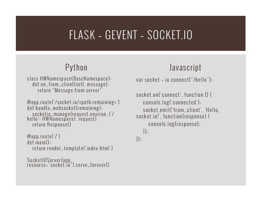 Python class HWNamespace(BaseNamespace): def on...