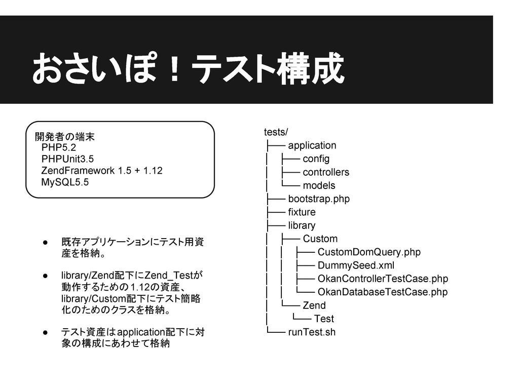 開発者の端末  PHP5.2  PHPUnit3.5  ZendFramework 1.5 +...