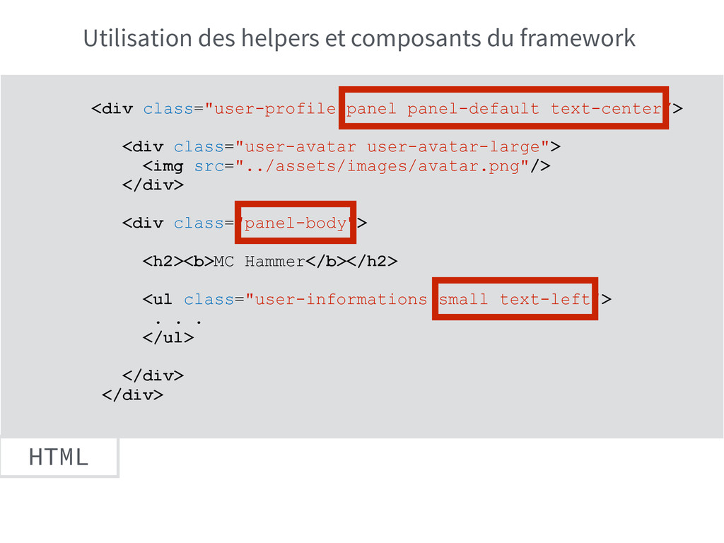 "HTML <div class=""user-profile panel panel-defau..."