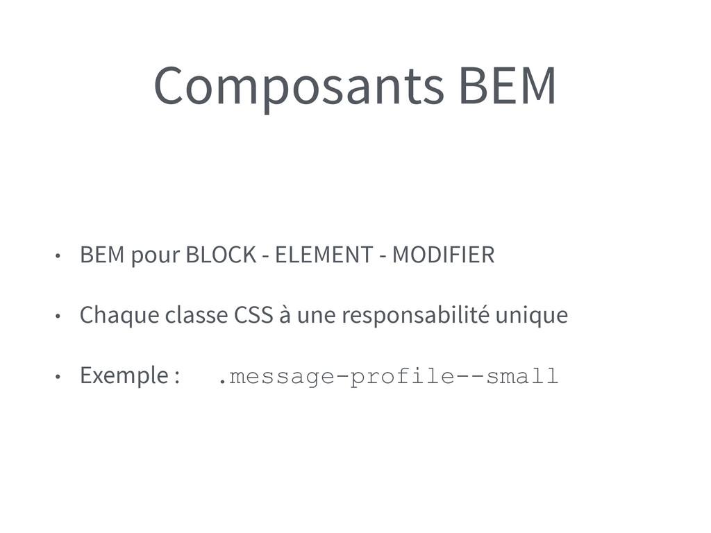 Composants BEM • BEM pour BLOCK - ELEMENT - MOD...
