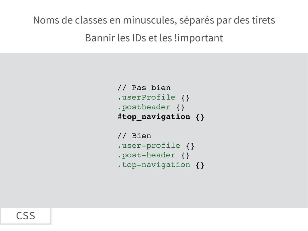 CSS Noms de classes en minuscules, séparés par ...