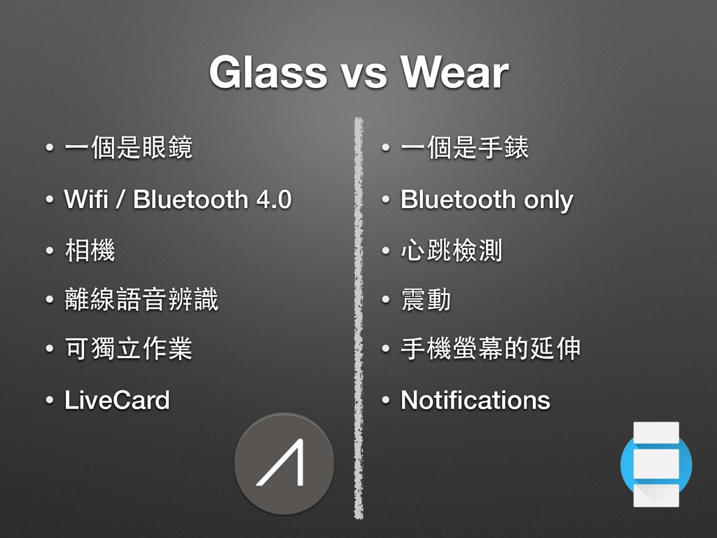 Glass vs Wear • ⼀一個是眼鏡 • Wifi / Bluetooth 4.0 • ...