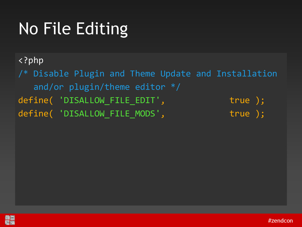 #zendcon No File Editing <?php /* Disable Plugi...