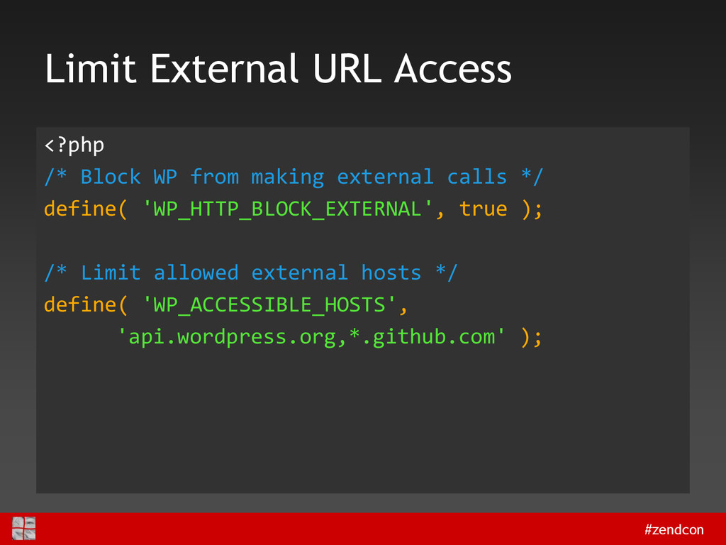 #zendcon Limit External URL Access <?php /* Blo...