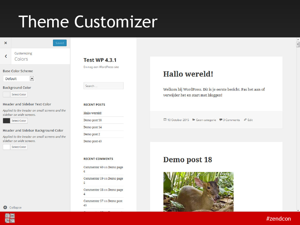 #zendcon Theme Customizer