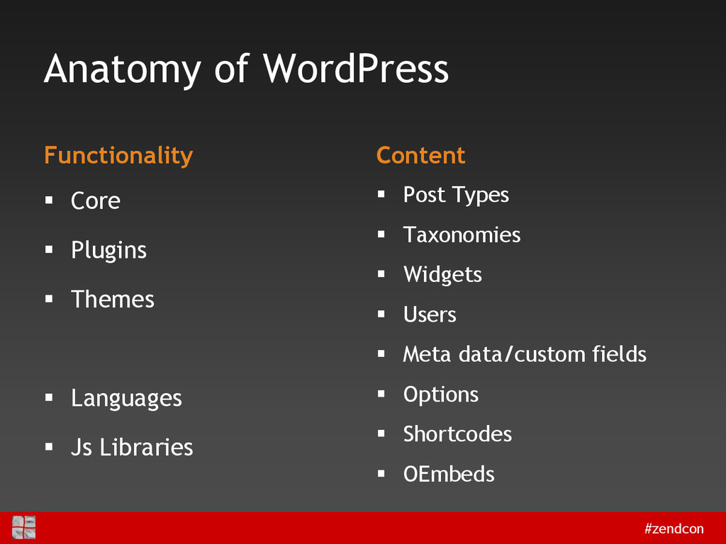 #zendcon Anatomy of WordPress Functionality  C...