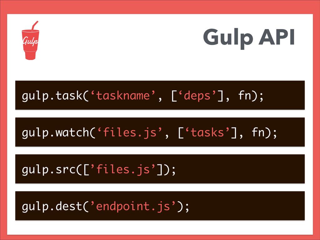 Gulp API gulp.task('taskname', ['deps'], fn); g...