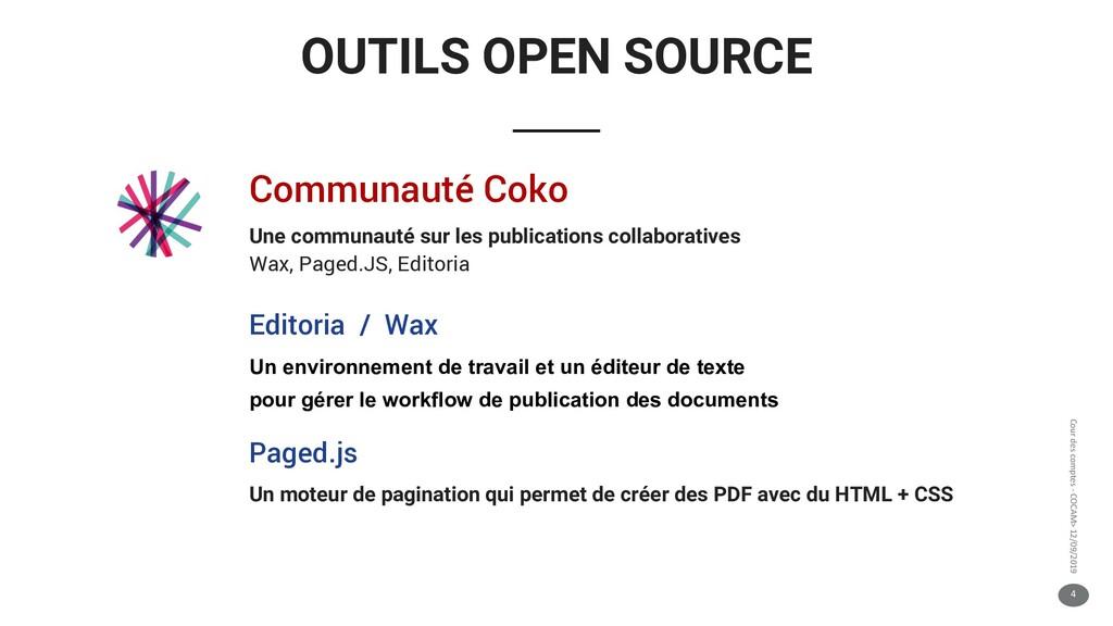 4 Cour des comptes - COCAM> 12/09/2019 OUTILS O...