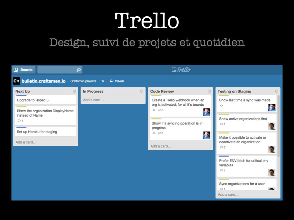 Trello Design, suivi de projets et quotidien