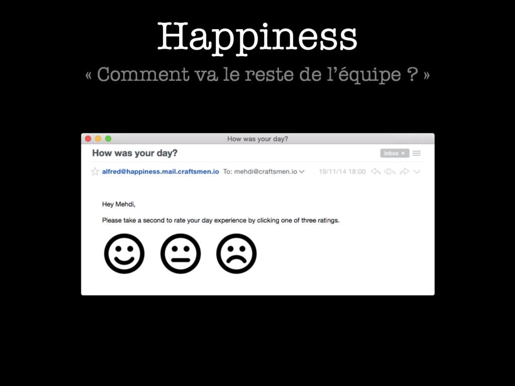 Happiness « Comment va le reste de l'équipe ? »