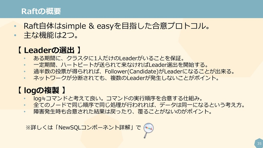 35 Raftの概要 • Raft自体はsimple & easyを目指した合意プロトコル。 ...