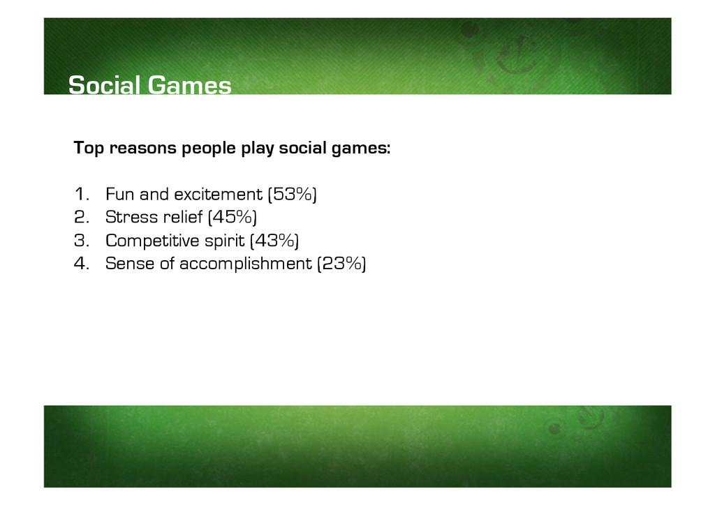 Top reasons people play social games: 1. Fun a...