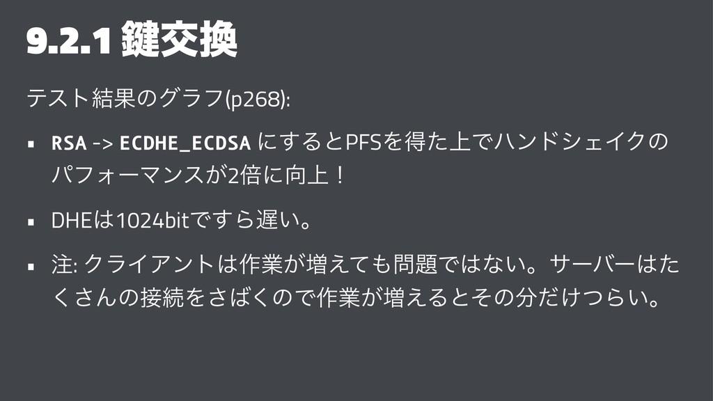 9.2.1 伴ަ ςετ݁Ռͷάϥϑ(p268): • RSA -> ECDHE_ECDSA...
