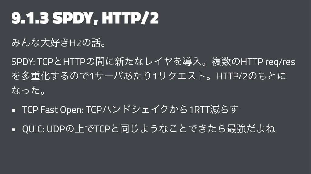 9.1.3 SPDY, HTTP/2 ΈΜͳେ͖H2ͷɻ SPDY: TCPͱHTTPͷؒ...