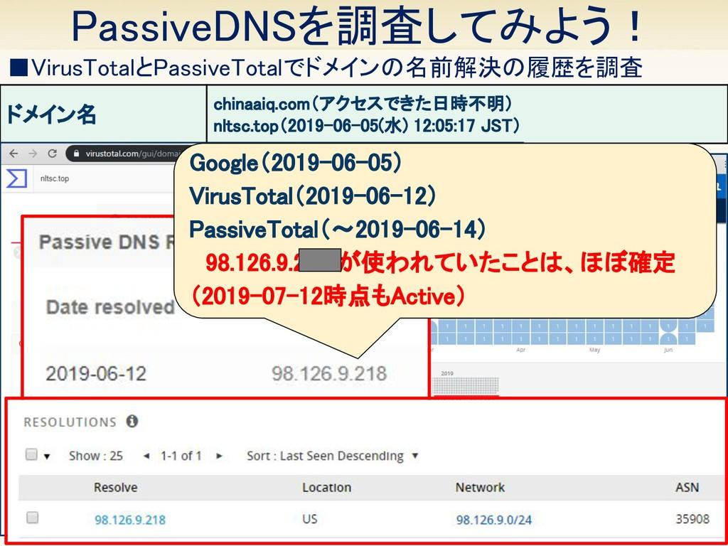 PassiveDNSを調査してみよう! 17 ■VirusTotalとPassiveTota...